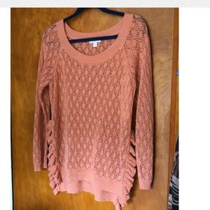 NY&Company Long Sleeve Open Sides Pink Sweater